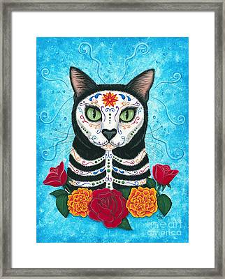Framed Print featuring the painting Day Of The Dead Cat - Sugar Skull Cat by Carrie Hawks