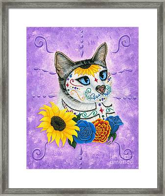 Day Of The Dead Cat Sunflowers - Sugar Skull Cat Framed Print