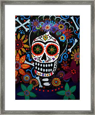 Day Of The Dead Frida Kahlo Painting Framed Print by Pristine Cartera Turkus