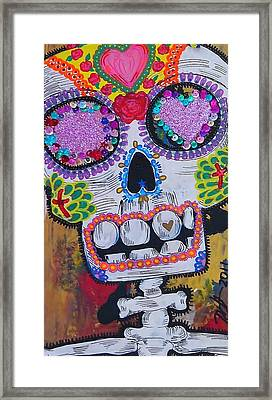 Day Of The Dead Skeleton  Framed Print by Nancy Mitchell