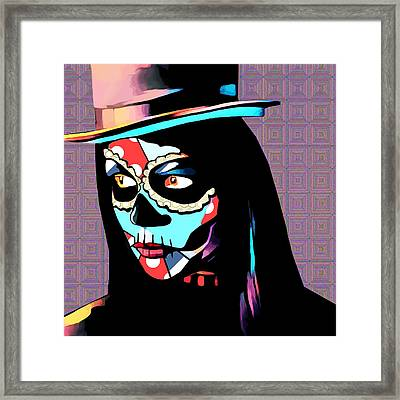 Day Of The Dead Skull Woman Wearing Top Hat Framed Print