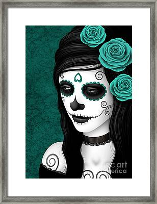 Day Of The Dead Sugar Skull Woman With Teal Blue Roses Framed Print by Jeff Bartels