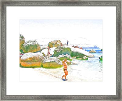 Day Off At Boulders Framed Print by Jan Hattingh