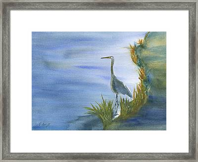 Daybreak With A Great Blue Heron  Framed Print