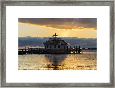 Daybreak Over Roanoke Marshes Lighthouse Framed Print