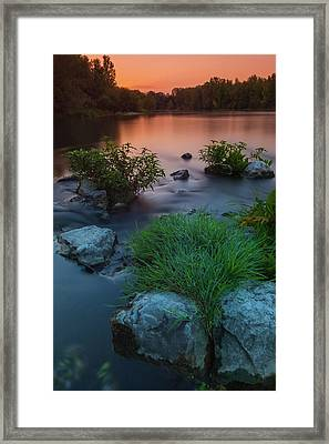Daybreak Over The Old Reverbed Framed Print