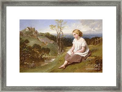 Daydreaming On The River Bank Framed Print by Henry Lejeune