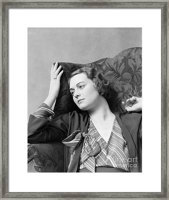 Daydreaming Woman, C.1930s Framed Print by H. Armstrong Roberts/ClassicStock