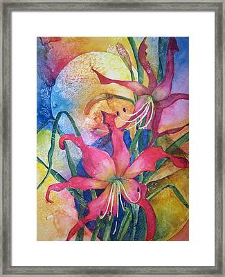 Daylilies In July Framed Print by Sandy Collier