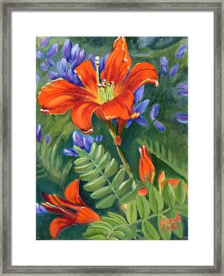 Framed Print featuring the painting Daylilies by Renate Nadi Wesley