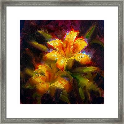 Framed Print featuring the painting Daylily Sunshine - Colorful Tiger Lily/orange Day-lily Floral Still Life  by Karen Whitworth