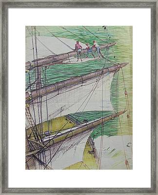 Framed Print featuring the drawing Days Of Sail by Mike Jeffries