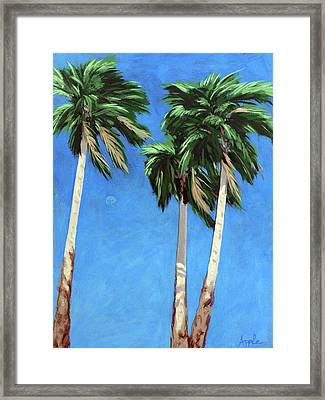 Framed Print featuring the painting Daytime Moon In Palm Springs by Linda Apple