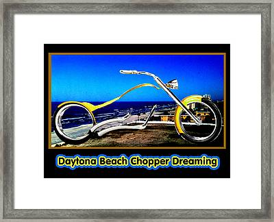 Daytona Beach Chopper Dreaming Yellow Gold Jgibney The Museum Framed Print by The MUSEUM Artist Series jGibney