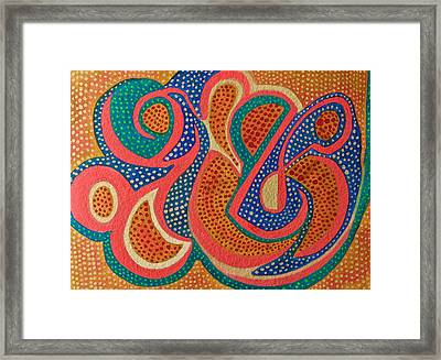Framed Print featuring the painting Dotted Motif by Polly Castor
