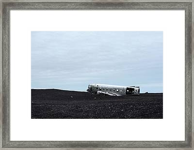 Framed Print featuring the photograph Dc-3 Plane Wreck Iceland by Brad Scott