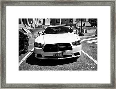 dc metropolitan police dodge charger pursuit cruiser  judiciary square Washington DC USA Framed Print