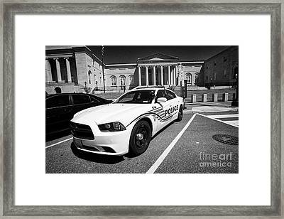 dc police car in front of District of Columbia City Hall now the court of appeals judiciary square W Framed Print