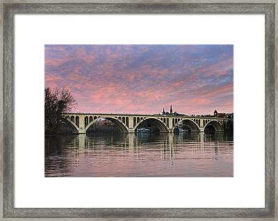 Dc Sunrise Over The Potomac River Framed Print by Brendan Reals