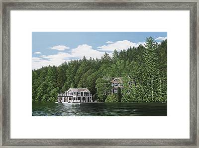 Framed Print featuring the painting De Groote Summer Home Muskoka by Kenneth M Kirsch