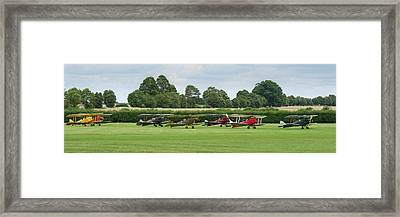 Framed Print featuring the photograph De Havilland Tiger Moths Line-up by Gary Eason