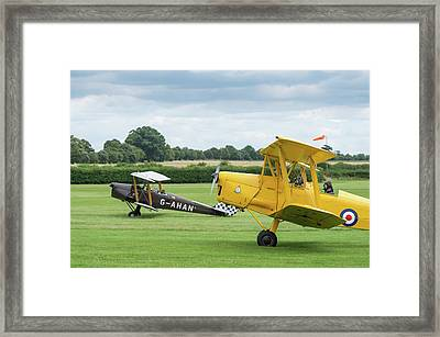 Framed Print featuring the photograph De Havilland Tiger Moths Taxiing by Gary Eason