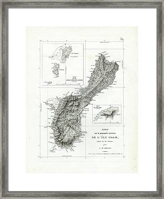 Framed Print featuring the drawing De L Ile Gwam Guam by Freycinet  DuPerry