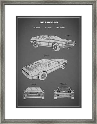 De Lorean Patent 1986 Framed Print by Mark Rogan