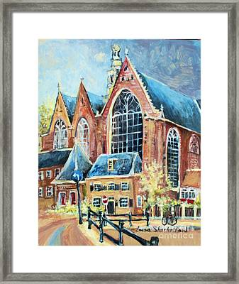 Framed Print featuring the painting De Ode Kerk by Linda Shackelford