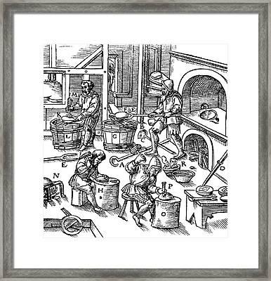 De Re Metallica, Metallurgy Workshop Framed Print by Science Source