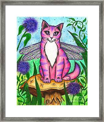Framed Print featuring the painting Dea Dragonfly Fairy Cat by Carrie Hawks