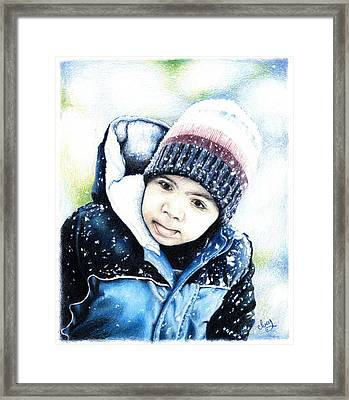 Framed Print featuring the drawing Deacon In The Snow by Mike Ivey