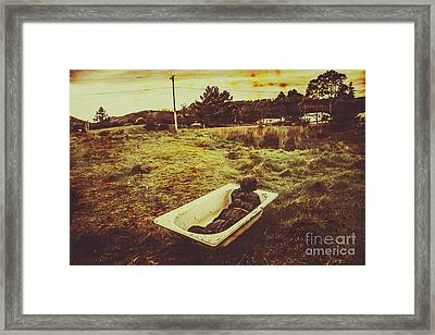 Dead Body Lying In Bath Outside Framed Print