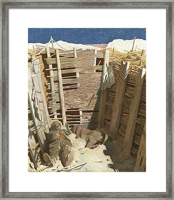 Dead Germans In A Trench Framed Print by William Orpen