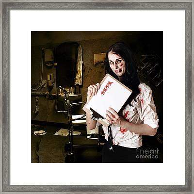 Dead Hospital Nurse Holding Bad Health Checklist Framed Print by Jorgo Photography - Wall Art Gallery
