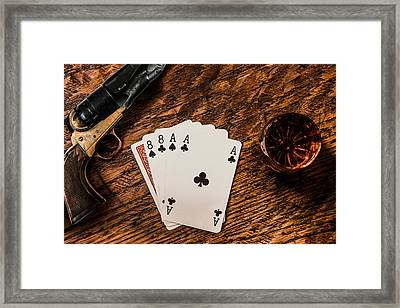 Dead Mans Hand A Gun And A Shot Of Whiskey Framed Print