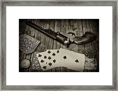 Dead Mans Hand Black And White Framed Print by Paul Ward