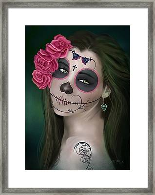 Day Of The Dead Bride Sugar Skull Framed Print by Maggie Terlecki