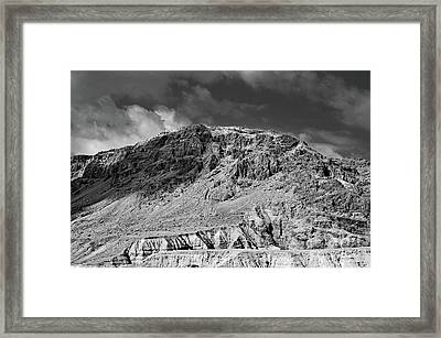 Dead Sea Scroll Caves 2 In B And W Framed Print