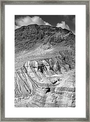Dead Sea Scroll Caves In B And W Framed Print