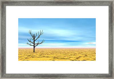 Dead Tree In Desert - 3d Render Framed Print