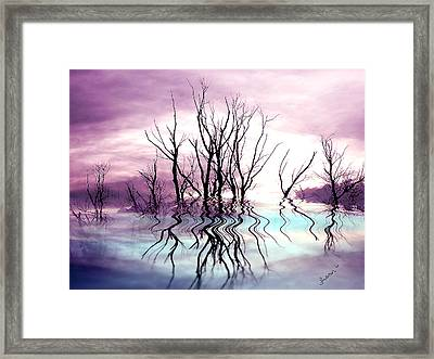Framed Print featuring the photograph Dead Trees Colored Version by Susan Kinney