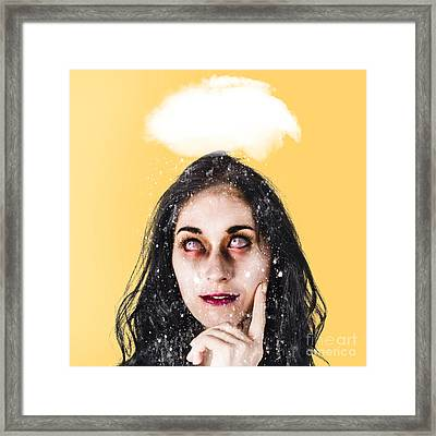 Dead Zombie Business Woman Brainstorming A Idea Framed Print by Jorgo Photography - Wall Art Gallery