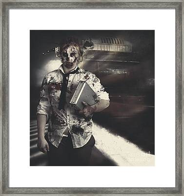 Dead Zombie Business Woman Catching Ghost Train Framed Print by Jorgo Photography - Wall Art Gallery