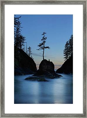 Deadman's Cove At Cape Disappointment At Twilight Framed Print
