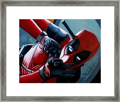 Framed Print featuring the painting Deadpool Really Loves You by Al  Molina