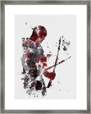 Deadpool Framed Print by Rebecca Jenkins