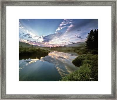 Deadwood River Reflection Sunrise Framed Print by Leland D Howard