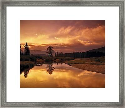 Deadwood River Sunrise Framed Print by Leland D Howard
