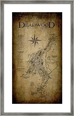 Deadwood South Dakota Map Framed Print by Daniel Hagerman
